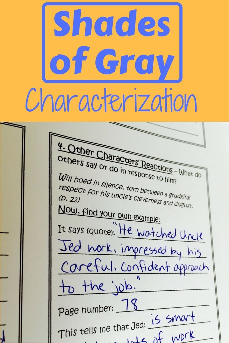 Shades of Gray Characterization with Text Evidence | Text evidence ...