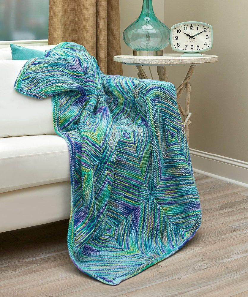 Diagonal Squares Knit Throw (With images)   Knitted throws ...