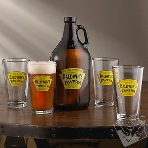 Personalized Yellow Tavern Beer Set (1 Growler & 4 Glasses) from Wine Enthusiast on Catalog Spree, my personal digital mall.