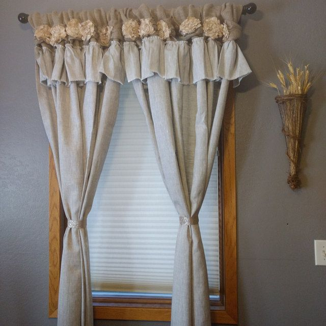 Burlap Curtain Off White Burlap Wide Ruched Tabs In 2020 With Images Ruffle Curtains Tab Curtains Burlap Curtains
