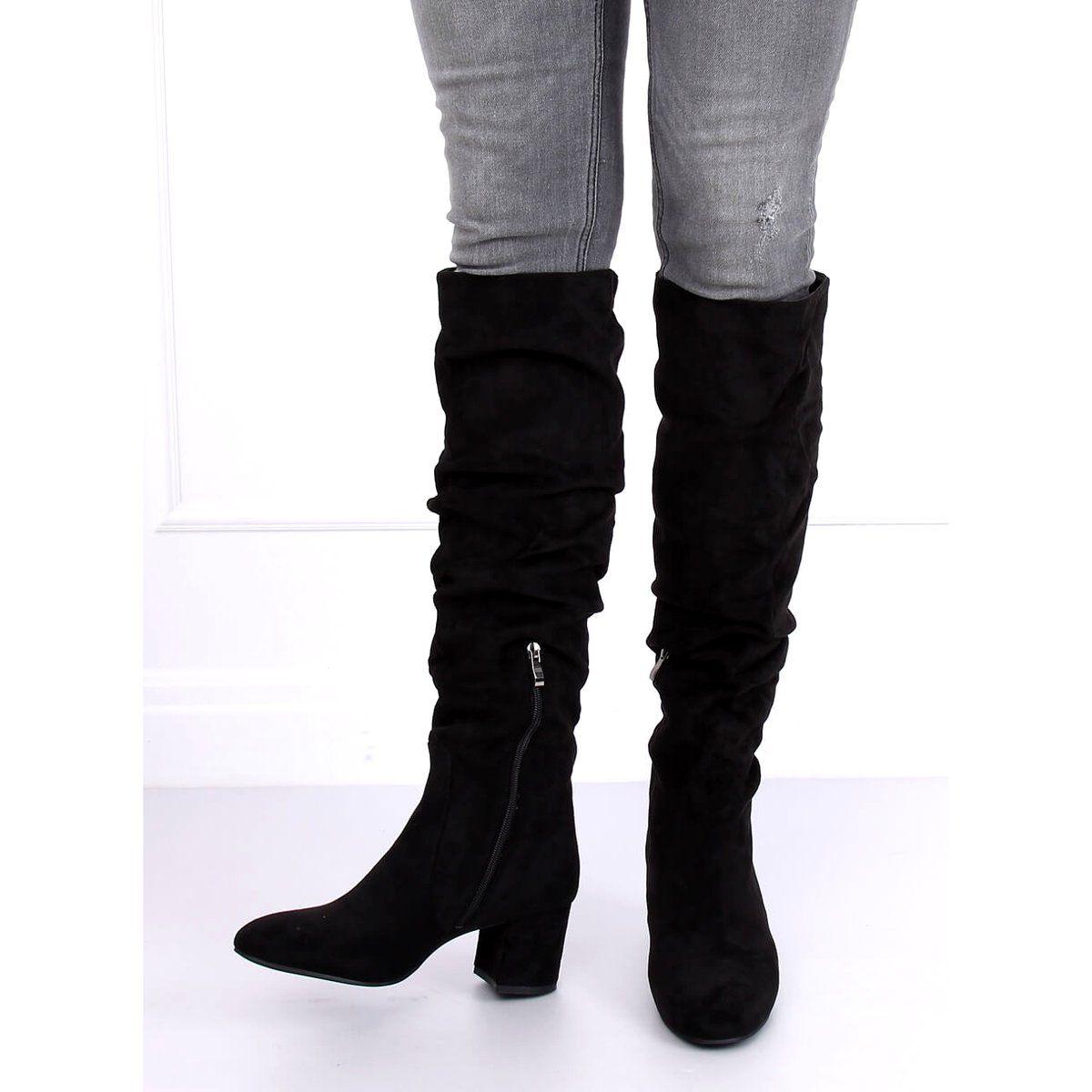 Kozaki Na Niskim Obcasie Czarne G 279 Black Over Knee Boot Boots Knee Boots