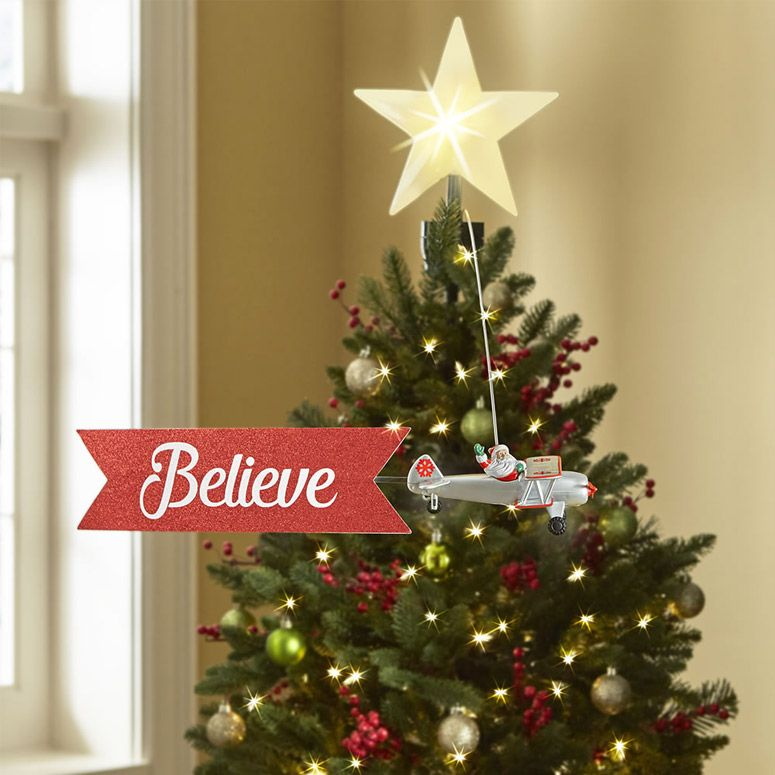 Santa Claus Biplane Animated Tree Topper Tree Toppers Tree Christmas Decorations