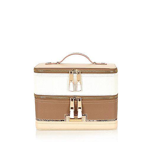 White Paneled Vanity Case Purses And Bags Weekender Bag Purses