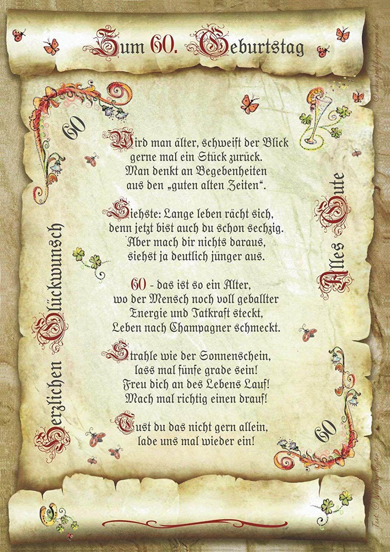 Geschenk 60 Geburtstag Gedicht Prasent Jubilaum Amazon De Kuche