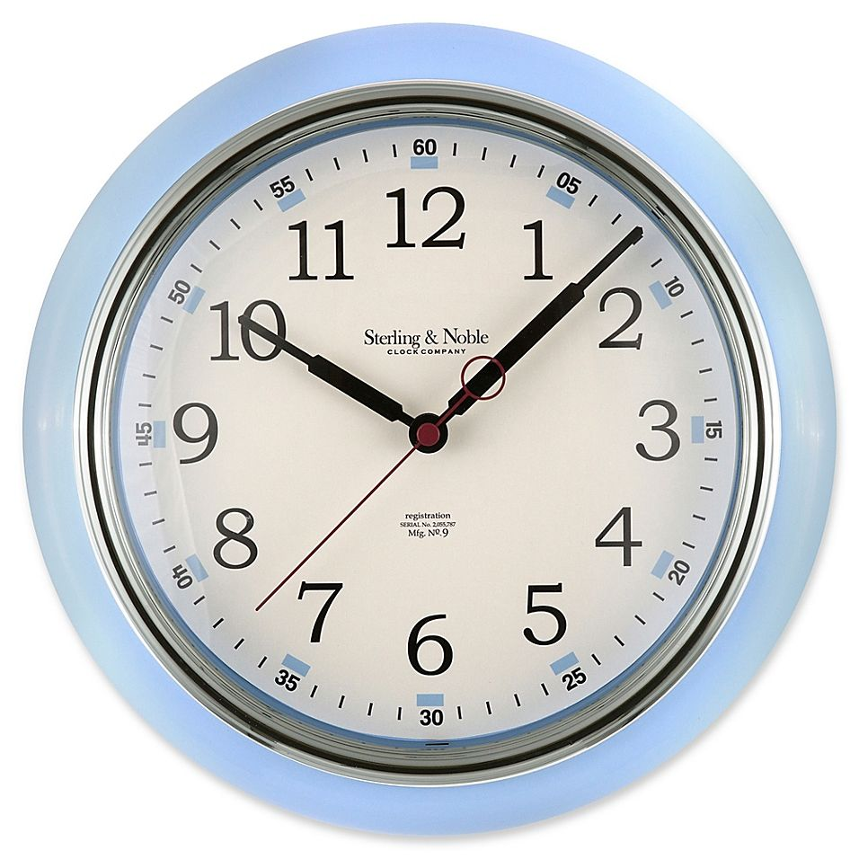 Sterling Noble Kitchen Round Wall Clock In Light Blue In 2021 Wall Clock Clock Round Wall Clocks