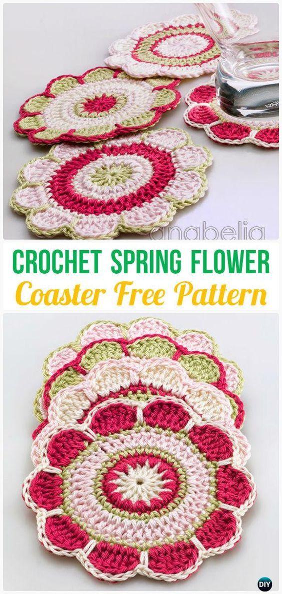 Ganchillo flor de primavera Coaster Patrón libre - Posavasos Crochet ...