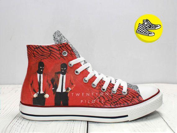8f9f14aa5832 Twenty One Pilots inspired custom hi top converse shoes Josh ...