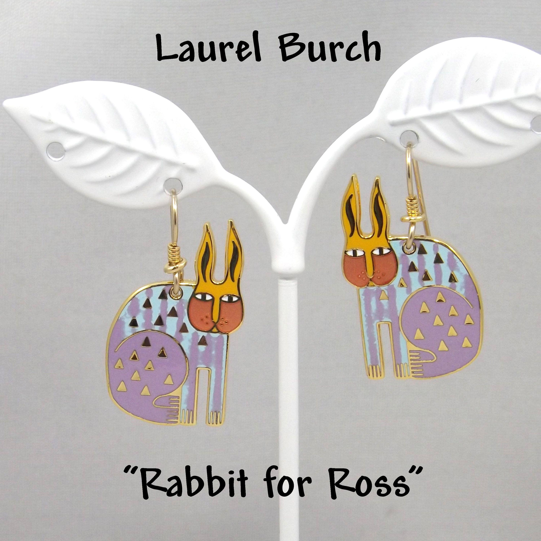 Vintage Laurel Burch Rabbit For Ross Earrings Pastel