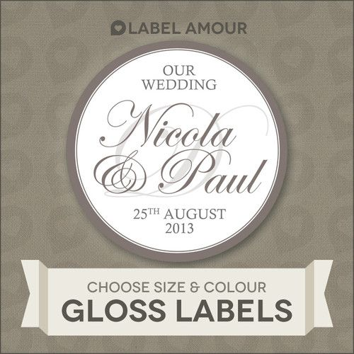 Personalised wedding favour sticker seals labels calligraphy 4 sizes 025