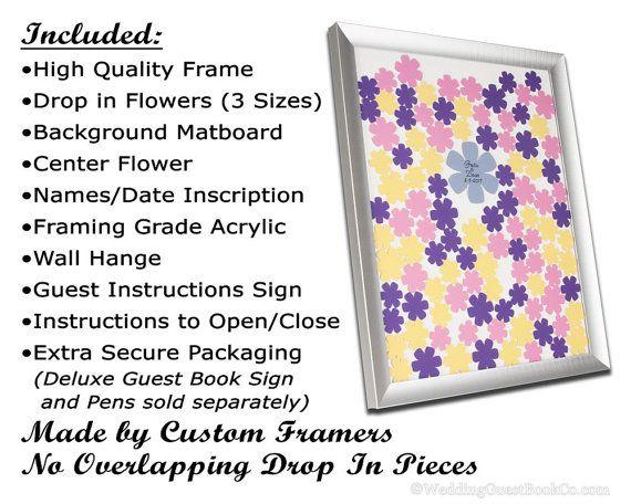 Drop In Top Flowers Shadow Box Frame Unique por WeddingGuestbook