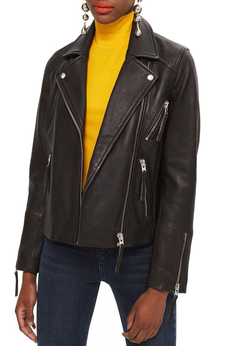 6b3c1662f Topshop Dolly Leather Biker Jacket (Regular & Petite) at Nordstrom ...