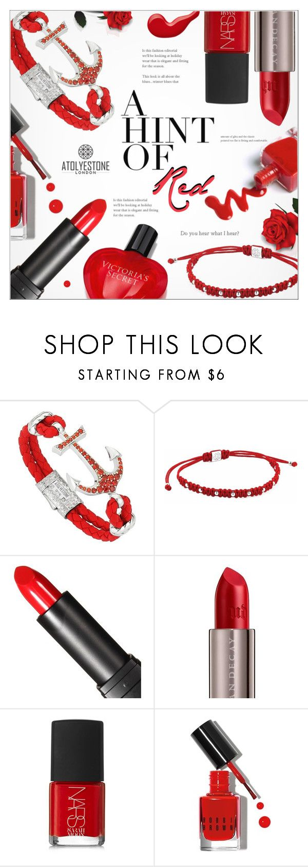 """""""A Hint of RED ~ ATOLYESTONE Contest"""" by alexandrazeres ❤ liked on Polyvore featuring beauty, Urban Decay, NARS Cosmetics, Bobbi Brown Cosmetics and Victoria's Secret"""