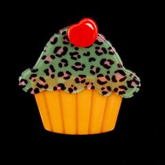 Erstwilder Kimberly's Cupcake Leopard Pin available in 2 inches