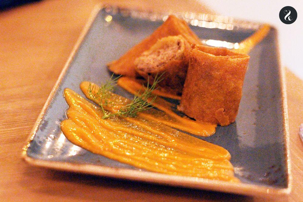 rollo de pringá en Macarela restaurante Madrid