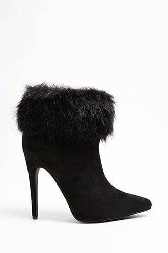 41d131b2f483 Faux Fur Trim Ankle Boots