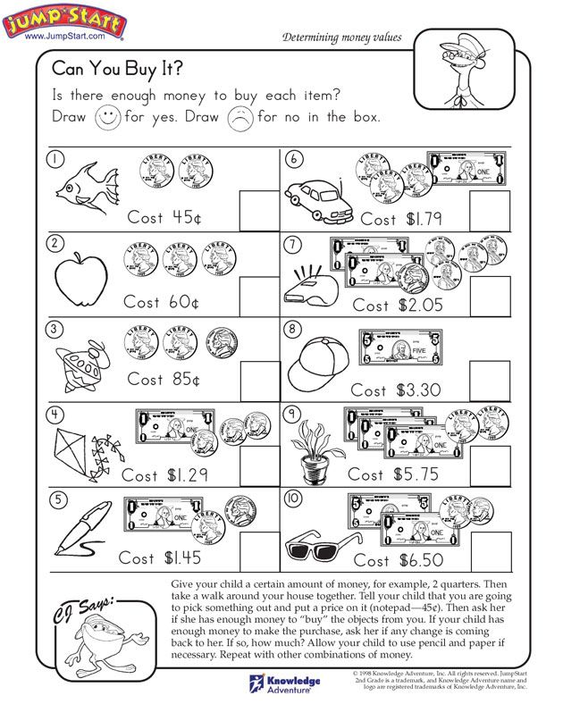 Can You Buy It 2nd Grade Math Worksheets Jumpstart Money