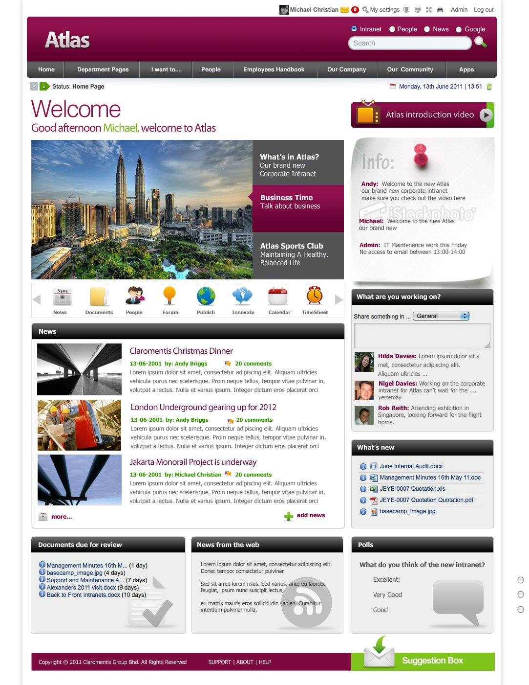 Sharepoint site design ideas - Mixing Social And Productivity Enhancing Tools With This Beautiful Intranet Design