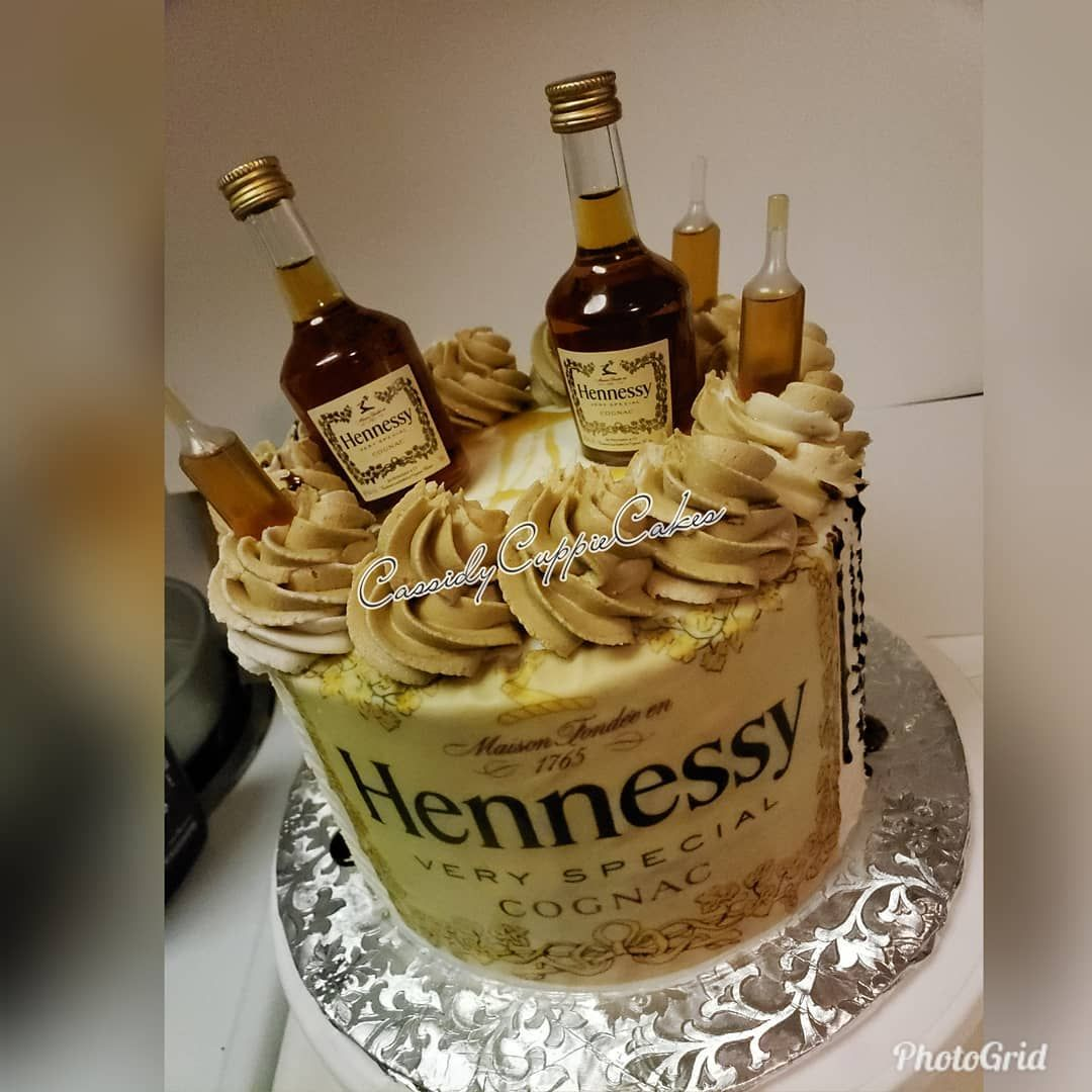 Cassidyscakes On Instagram My 1st Hennessy Cake Henny Thing Is Possible Hennessycake Edibleimage Liqour Bestca Hennessy Cake Alcohol Cake Liquor Cake