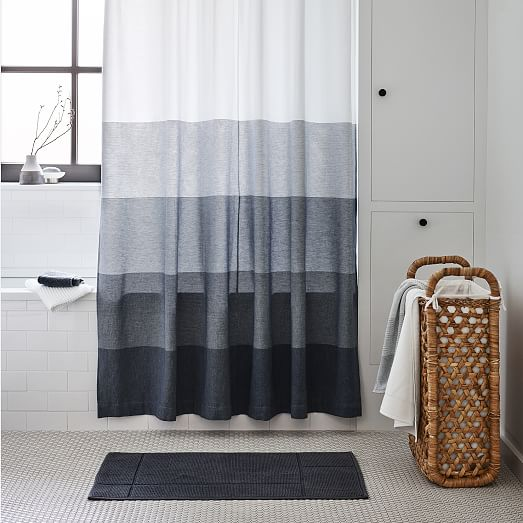Organic Dobby Ombre Shower Curtain Indigo West Elm Ombre