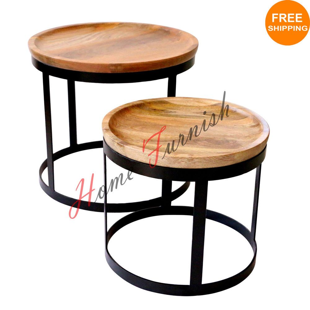 Details about vintage look industrial style coffee table nested details about vintage look industrial style coffee table nested table industrial iron tables geotapseo Choice Image