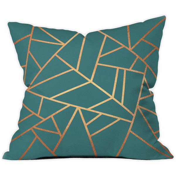 Copper & Teal Throw Pillow (63 AUD) liked on Polyvore featuring home, home decor, throw pillows ...