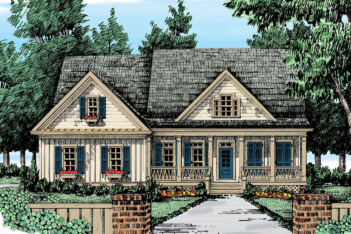 Plan 710010btz Cozy 3 Bed Cottage House Plan With Board And Batten Exterior Cottage House Exterior Cottage House Plans Country Style House Plans