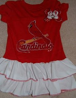 Custom Cardinals dress from a t-shirt with matching bottle cap hairbow