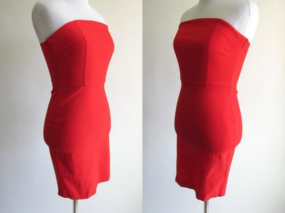 1ba4c5fc449 90s Bright Red Stretchy Bodycon Strapless Mini Dress - Sexy Red Tight  Fitted Red Dress - 1990s Sexy