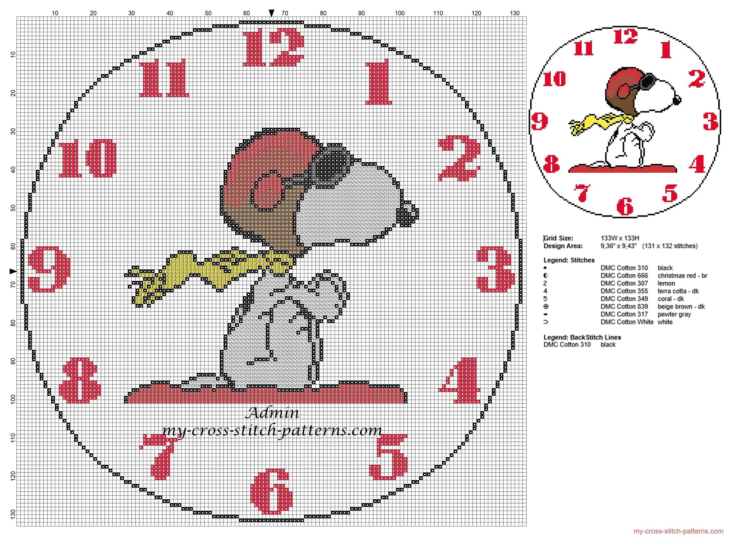 Ninos reloje con Snoopy patron punto de cruz | Cross Stitch ...