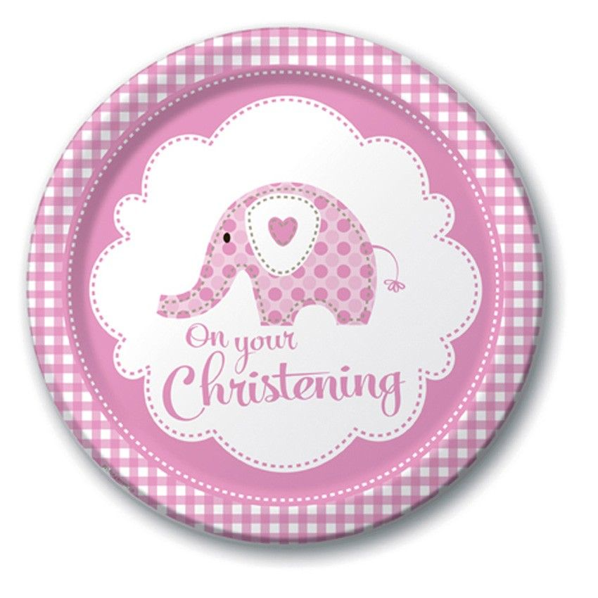 Pink Elephant On Your Christening 9  Paper Plates - 8pk  sc 1 st  Pinterest & Pink Elephant On Your Christening 9