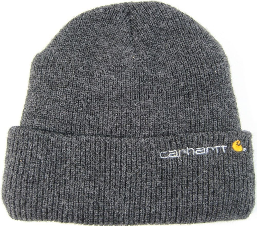 e930b4486b1 Carhartt Men Knit Beanie One Size Fits Gray Embroidered Logo. TTT 108   Carhartt  Beanie
