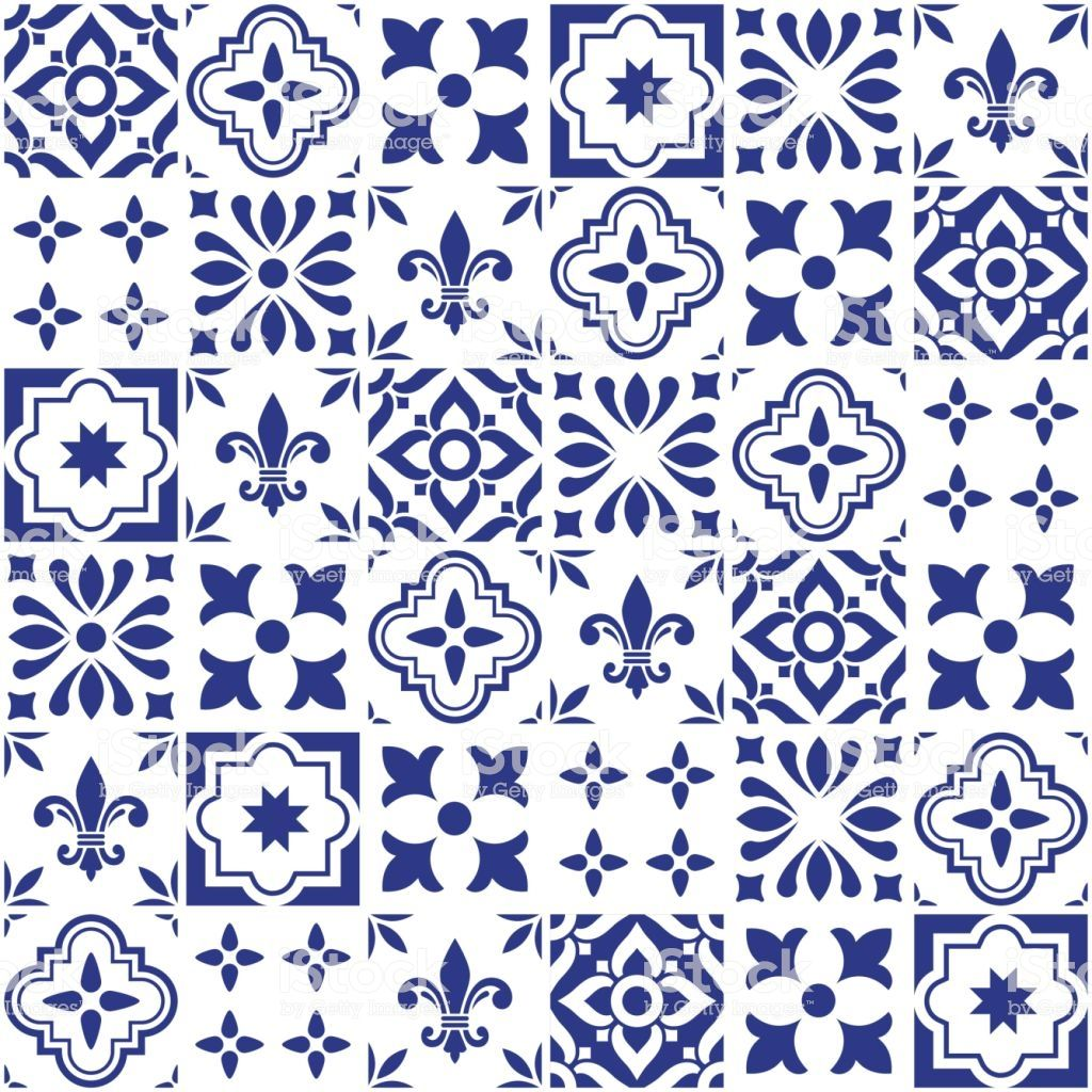 Tile Collection Inspired By Traditional Art From Portugal And Spain Geometric Vector Blue Tiles Navy Blue Tile