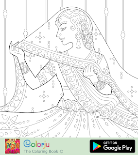 Free Indian Bride In Saree Coloring Page Animal Coloring Pages Coloring Pages For Girls Wedding Coloring Pages