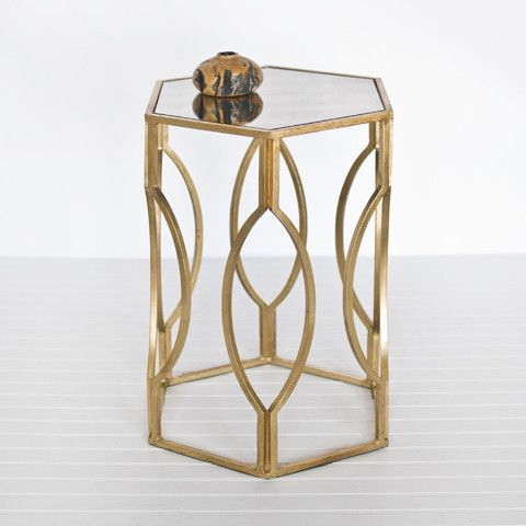 Gold Morroco Hexagonal Side Table Modern Tables And Accent Inside Avenue