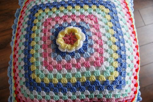 crochet granny cushion by fishoseven