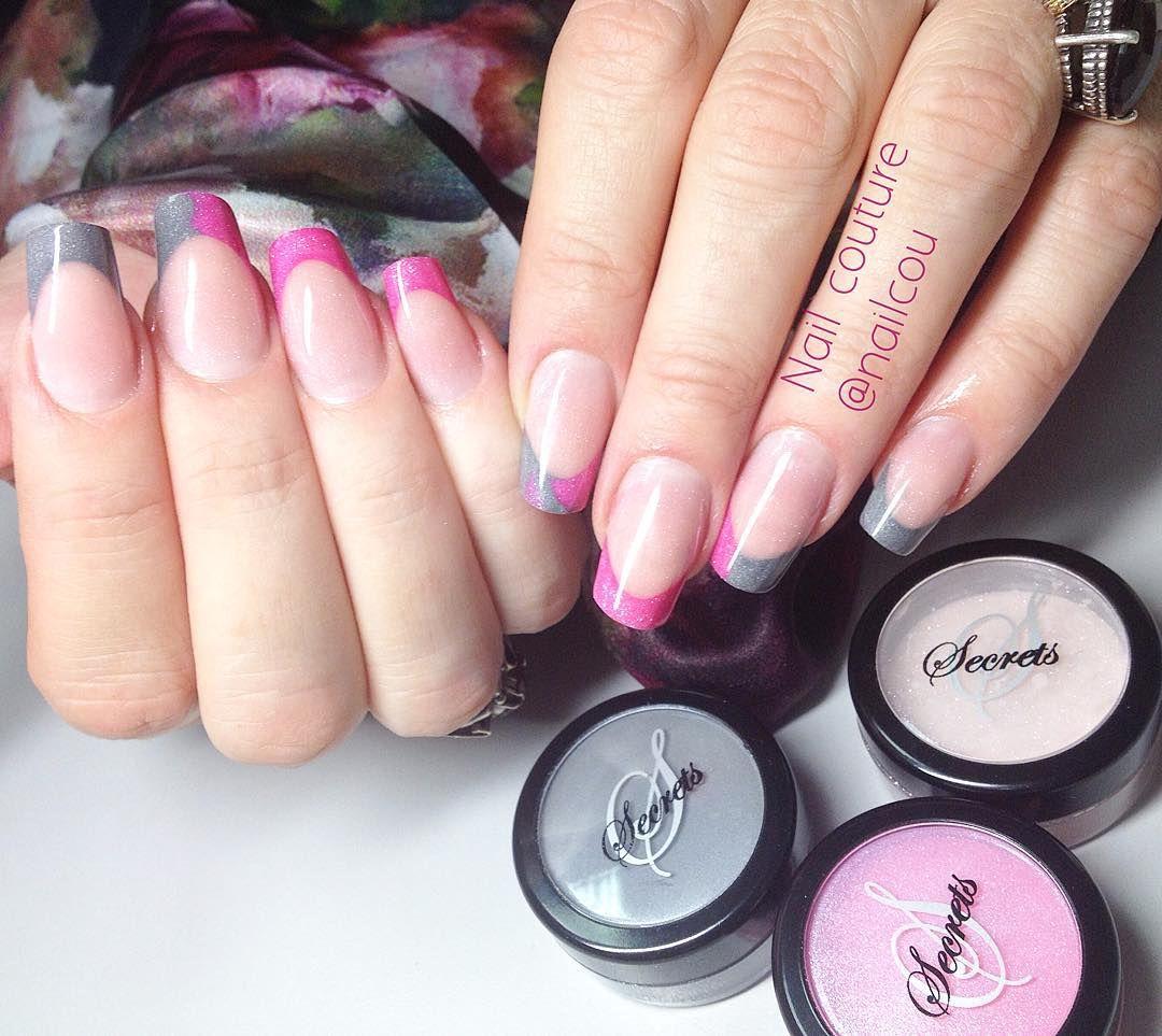 Pink and Grey Acrylic Nails using NSIs Secrets Shades Powders   NSI ...