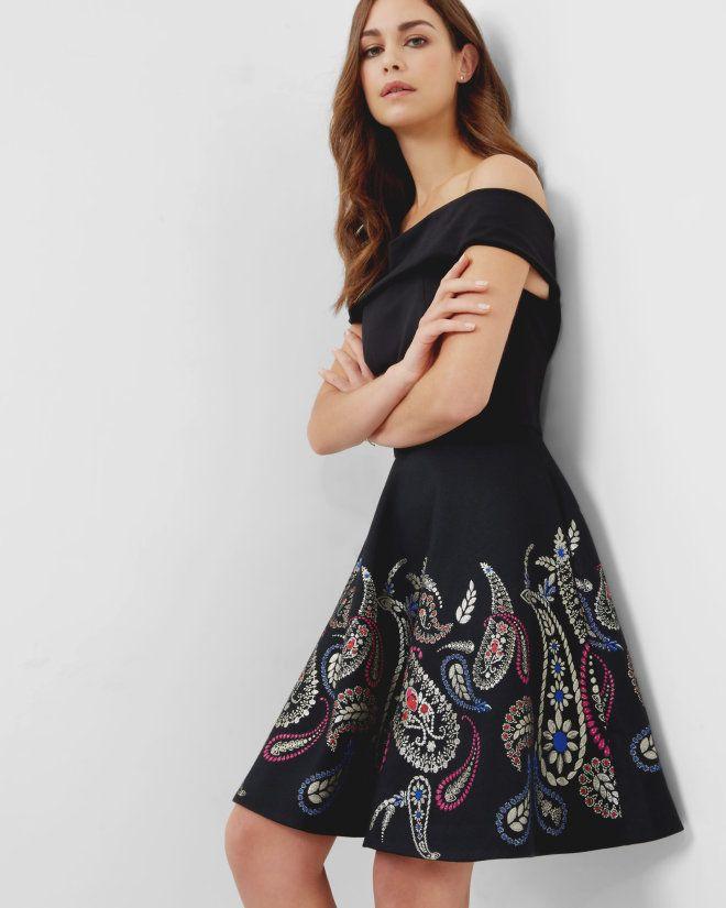 1dc6410e3 Treasured Trinkets Bardot dress - Black