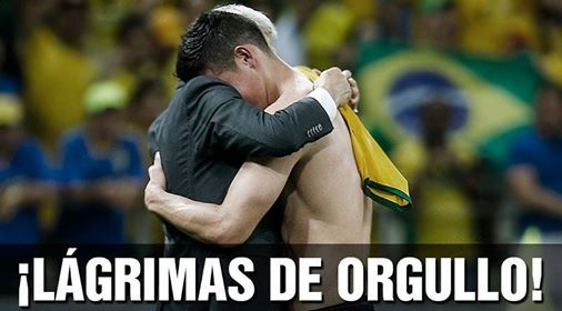 Selección de Colombia 2014 Mundial Brasil  el técnico Pékerman y James.