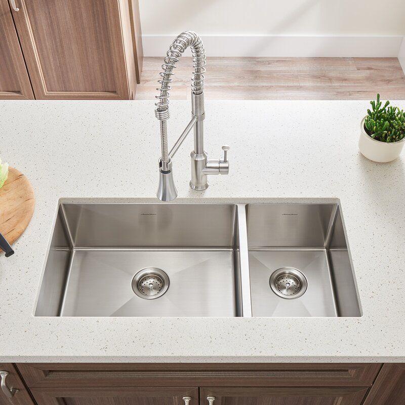 Pekoe 35 L X 18 W Double Basin Undermount Kitchen Sink Best Kitchen Sinks Kitchen Sink Design Modern Kitchen Sinks