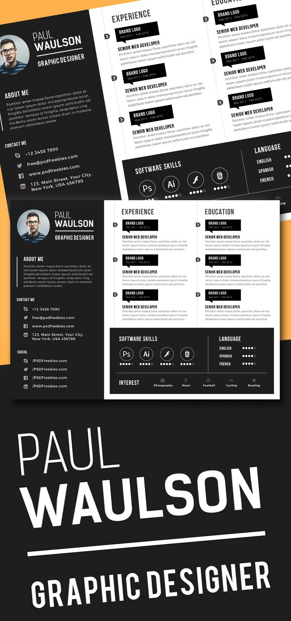 Free Creative Horizontal Cv Resume Template Psd Resumetemplate