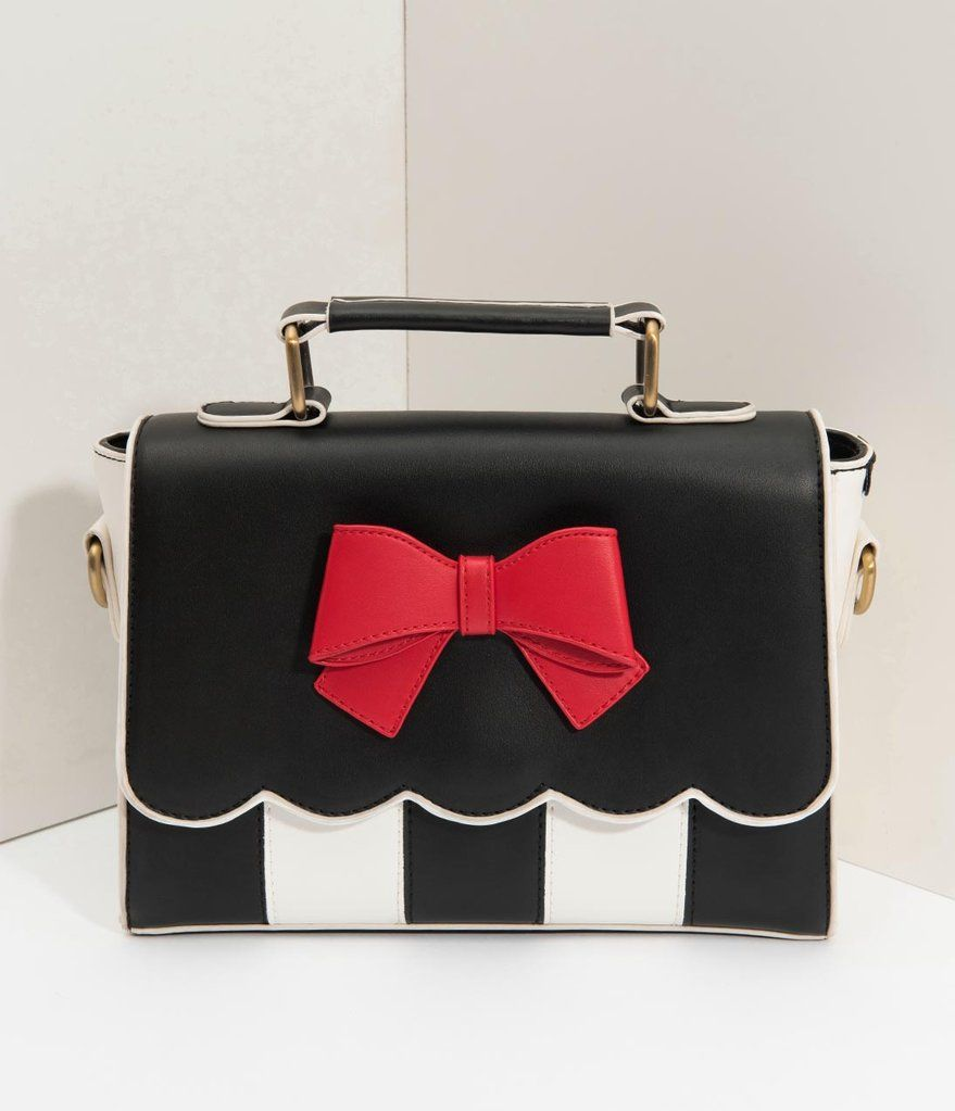 e548e49ee44b Lola Ramona Black   Cream Stripe Red Bow Stella Handbag in 2019 ...