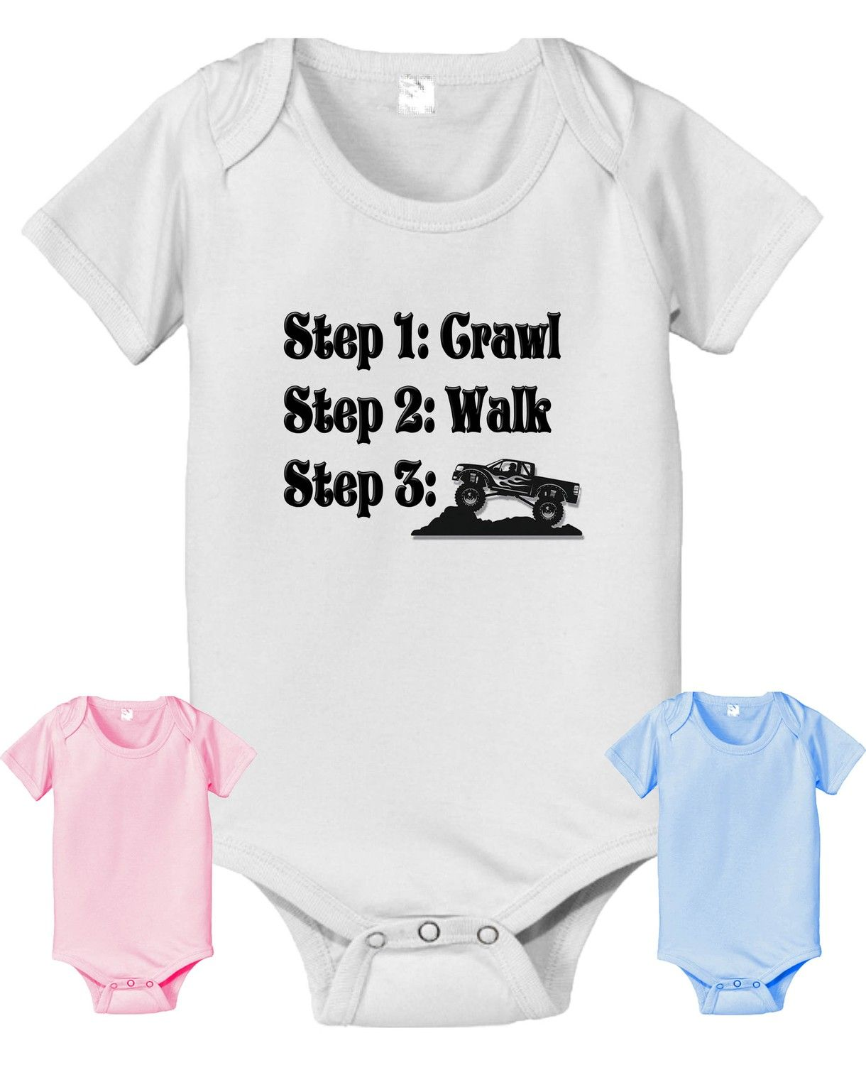 Crawl Walk Baseball Funny Cute Outfit Baby Kids Humor Red Toddler T-Shirt