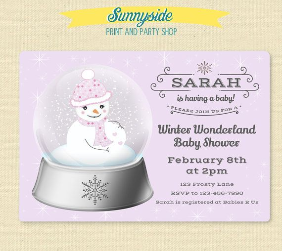 Snow Globe Winter Baby Shower Invitation   Snowman Winter Wonderland  Printable Invitation   Gender Neutral