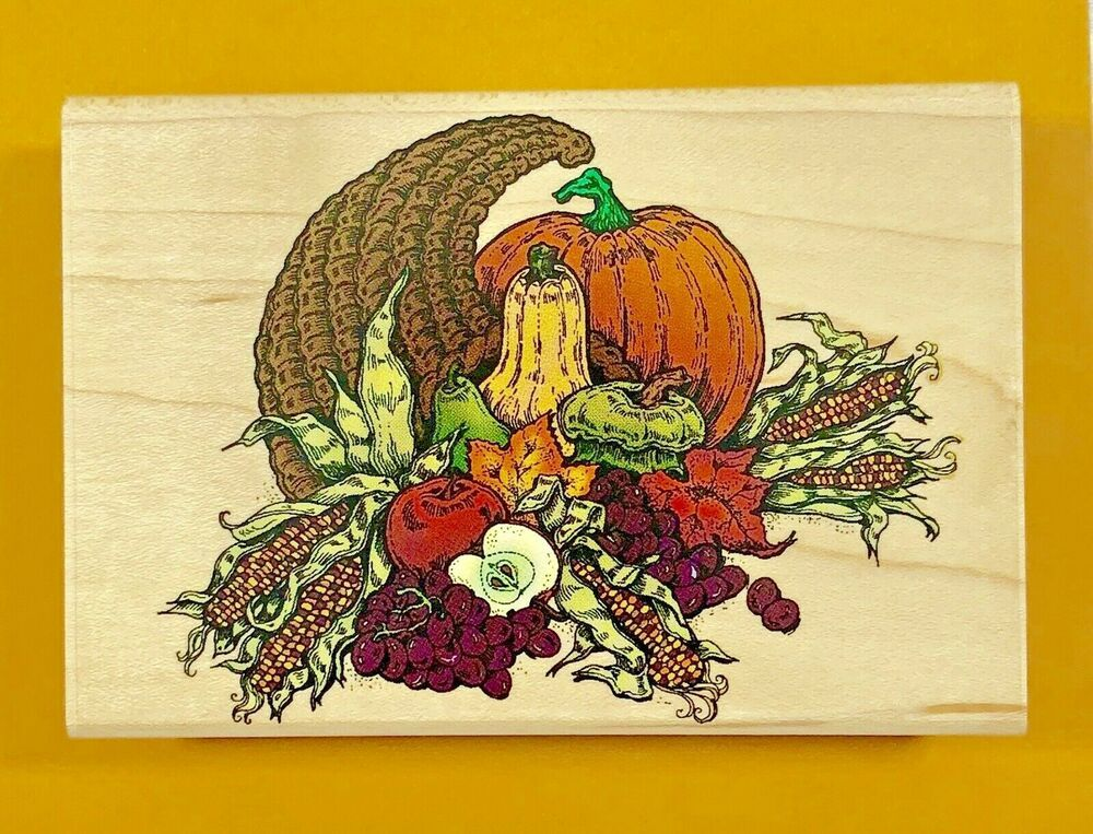 Autumn Harvest Fall Scene Wood Mounted Rubber Stamp Impression Obsession H1287