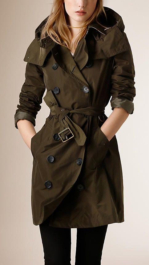 9d83f61ca76b9 Olive sombre Trench-coat en taffetas à capuche amovible - Image 1 ...