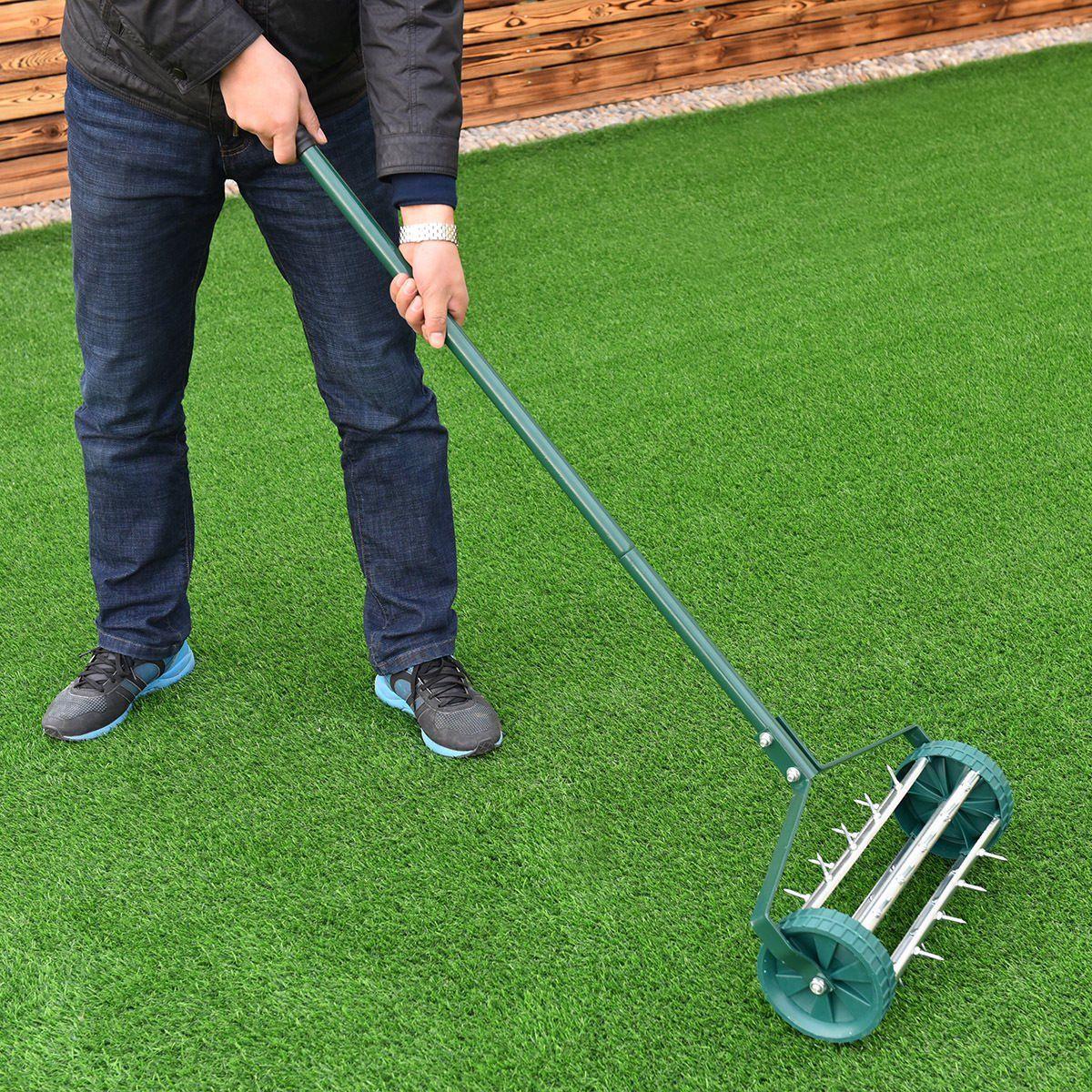 Gymax Rolling Garden Lawn Aerator Roller Home Grass Steel