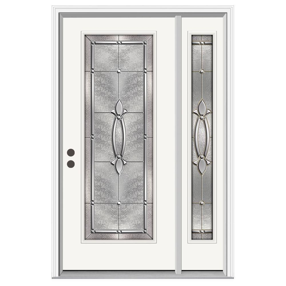 Jeld Wen 50 In X 80 In Full Lite Blakely Primed Steel Prehung Left Hand Inswing Front Door With Right Hand Sidelite H30809 Front Porch Design Entry Door With Sidelights Decoration For Ganpati