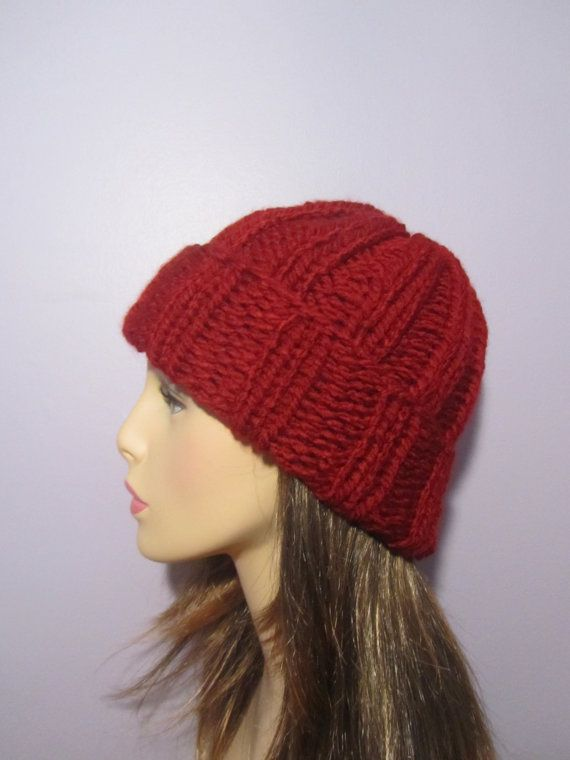 Red or Pick Your Color Custom Knit Hat  Hand Knit by UpNorthKnits, $38.00