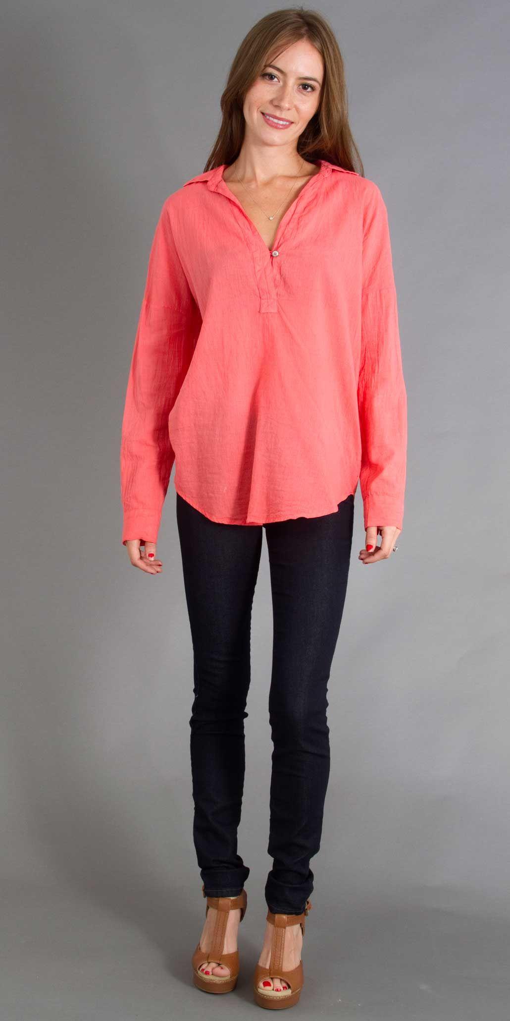 Splendid Shirtling One Button Cotton Tunic in Blaze. $98.00