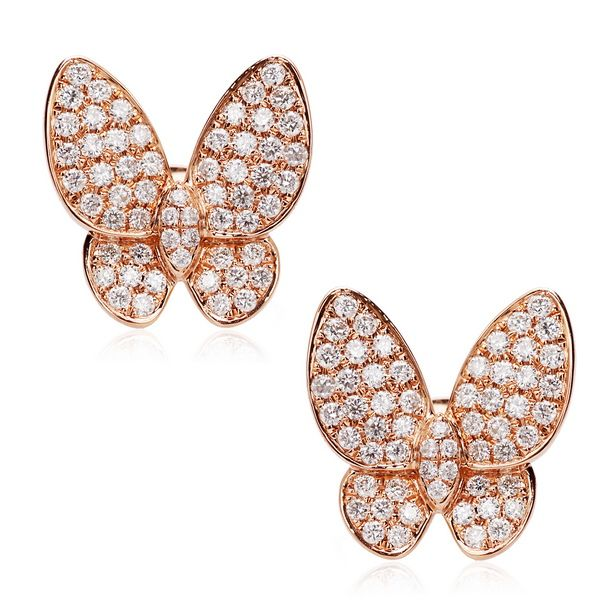 18CT ROSE GOLD DIAMOND BUTTERFLY EARRINGS 1 08CT